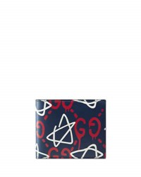Guccighost Star Leather Wallet Navy