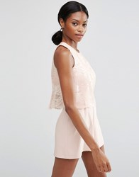 Asos Occasion Pretty Lace Overlay Playsuit Blush Blue