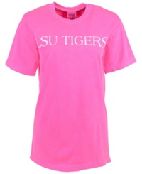 Royce Apparel Inc Women's Lsu Tigers Bar Print T Shirt Neon Pink