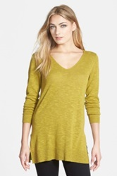 Eileen Fisher Deep V Neck Slim Melange Tunic Petite Green