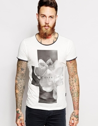 Sisley T Shirt With Rose Print White