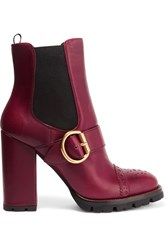 Prada Leather Platform Boots Burgundy