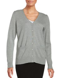 Lord And Taylor Merino Wool Button Front Cardigan Platinum Heather