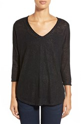 Women's Bobeau Metallic Flecked V Neck Pullover Black