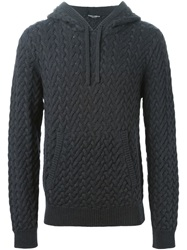 Dolce And Gabbana Cable Knit Hoodie Grey