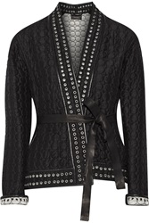 Isabel Marant Oma Leather Trimmed Quilted Silk Jacket Black