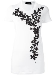 Dsquared2 Embellished Flower Detail T Shirt White
