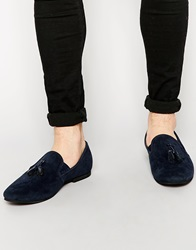 New Look Faux Suede Loafers With Tassle Navy