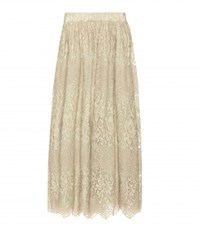 Valentino Metallic Lace Skirt Green