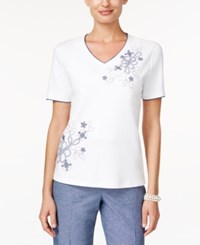Alfred Dunner Embroidered Beaded Top Navy White