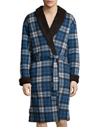 Ugg Manning Plaid Robe With Faux Fur Lining Blue Women's