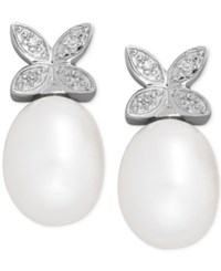 Macy's Cultured Freshwater Pearl 9 X 7Mm And Diamond Accent Butterfly Stud Earrings In Sterling Silver