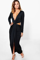 Boohoo Cut Out Side Drape Front Maxi Dress Black