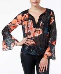 Guess Printed Embellished Top Black