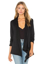 Heather French Terry Shoulder Zip Jacket Black