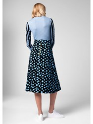 House Of Holland Spotlight Crepe Midi Skirt Blue