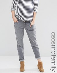 Asos Maternity Kimmi Boyfriend Jeans In Des Torres Wash With Over The Bump Waistband Grey