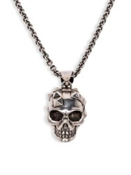 Alexander Mcqueen Studded Skull Pendant Necklace Dove Grey