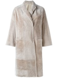 Brunello Cucinelli Single Breasted Fur Coat Nude And Neutrals
