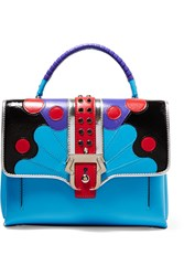 Paula Cademartori Petite Faye Leather Tote Blue