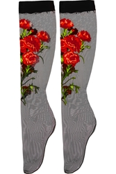 Dolce And Gabbana Embroidered Tulle Socks
