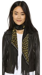 Rockins Classic Skinny Fringed Rose Leopard Silk Scarf Gold