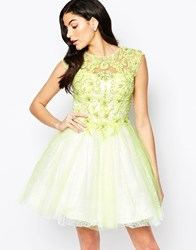Forever Unique Winnie Lace Applique Prom Dress Lime Green
