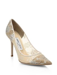 Jimmy Choo Abel Lace Point Toe Pumps White