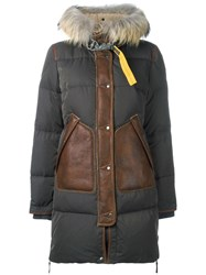Parajumpers Contrast Panel Padded Coat Green