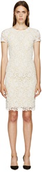 Burberry White And Yellow Floral Macrame Dress