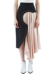 Roksanda Ilincic Niamh Geometric Satin Draped Skirt Black