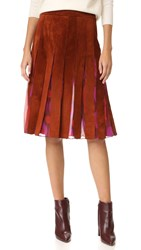 Diane Von Furstenberg Melita Suede Pleated Skirt Whiskey Brown Parry Petite Ame