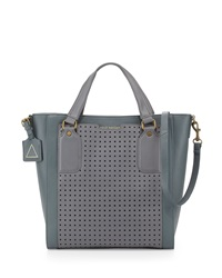 Kelsi Dagger Leather Grasslands Perforated Tote Bag Gray Cement
