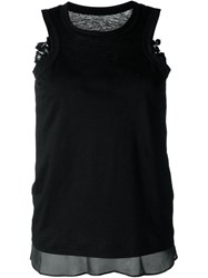 Sacai Floral Lace Tank Top Black