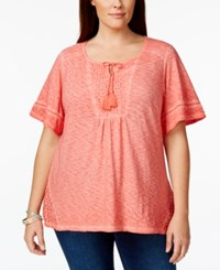 Styleandco. Style And Co. Plus Size Crochet Bib Bell Sleeve Top Only At Macy's
