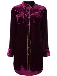 Saint Laurent Velvet Western Shirt Dress Pink And Purple
