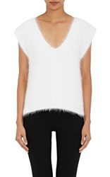 Helmut Lang Women's V Neck Brushed Angora Blend Sleeveless Sweater White