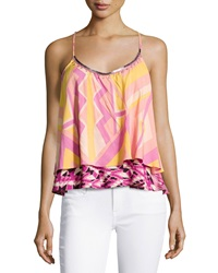Plenty By Tracy Reese Mixed Print Woven Racerback Tank Multicolor