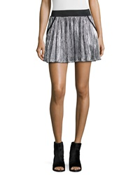 Zadig And Voltaire Jaffar Pleated Metallic Miniskirt Argent