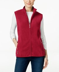 Karen Scott Fleece Zip Front Vest Only At Macy's New Red Amore