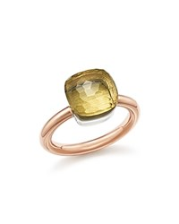 Pomellato Nudo Classic Ring With Lemon Quartz In 18K Rose And White Gold Lemon Rose