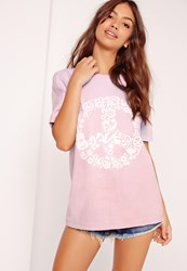 Missguided Peace Slogan Colour Change T Shirt Purple Purple