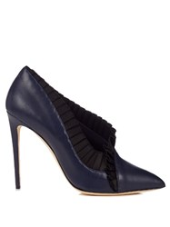 Olgana Paris La Divine Leather And Satin Pumps Black Navy