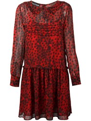 Boutique Moschino Heart Print Dress Red