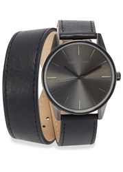 Unknown Watches The Wrap Gunmetal Stainless Steel Watch Black