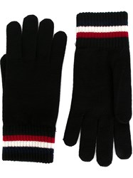 Moncler Striped Edge Gloves Black