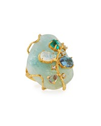 Indulgems Golden Aquamarine Gemstone Cluster Cocktail Ring Women's