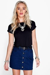 Boohoo Button Through Mini Skirt Dark Blue