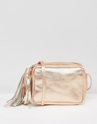 Asos Metallic Leather Cross Body Bag With Tassel Rose Gold Copper