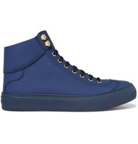 Jimmy Choo Argyle Textured Leather High Top Sneakers Blue